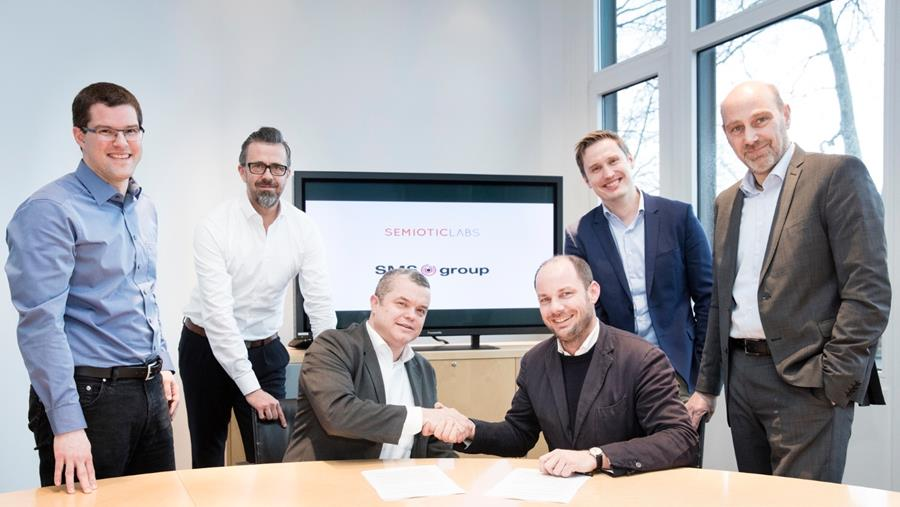 From the left: Tobias Wachs, SMS group; Ralf-Martin Rautmann, SMS group; Christoph Häusler, SMS group; Simon Jagers, Semiotic Labs; Eike Permin, SMS digital; Holger Hermeling, SMS group at the signing ceremony on February 13, 2020.